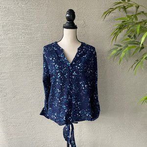 Apt. 9 Blue High Low Button Down Long Sleeve Top